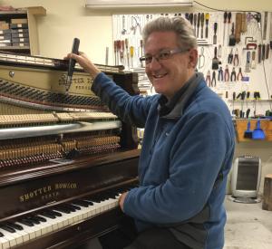 Gary tuning a beautiful piano