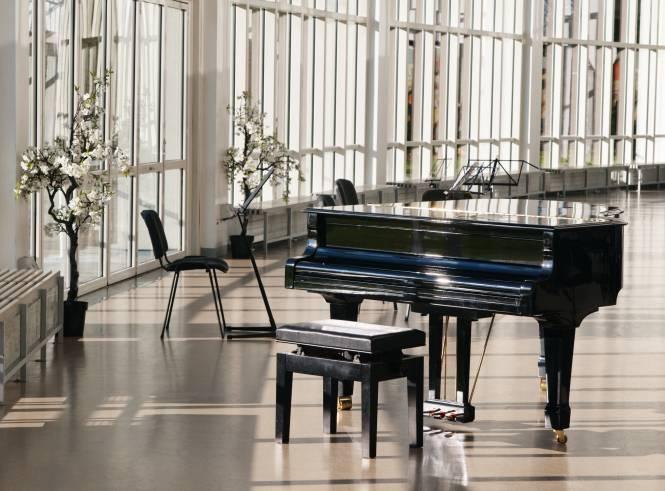Piano in window room